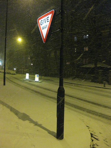 Untouched snow settles on Primrose Hill Road