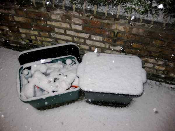 Camden recycling bins in the snow
