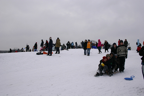 Primrose Hill - the sledging begins