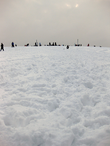 Primrose Hill is covered with fresh snow